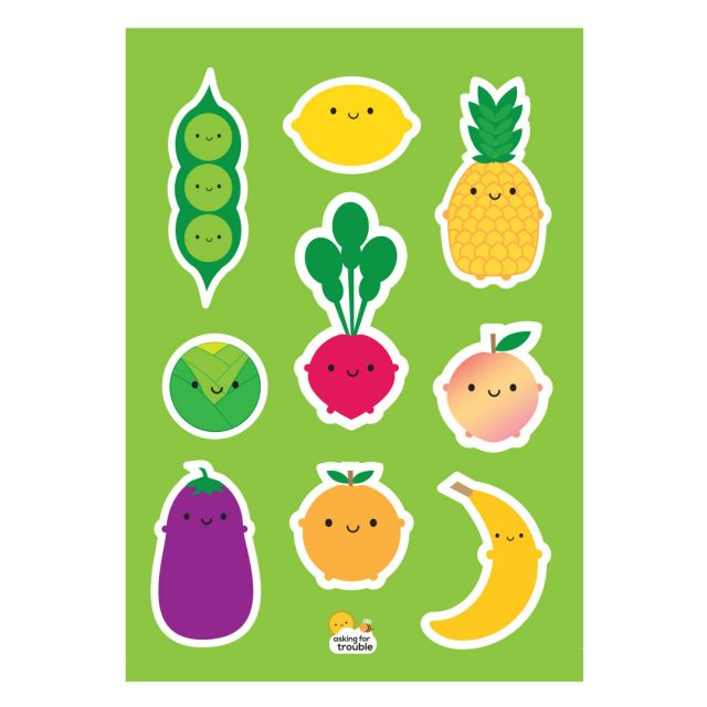 5 A Day Fruit & Vegetables Sticker Sheets