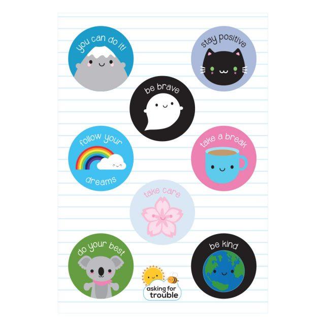 Kawaii Motivation & Self Care Sticker Sheets