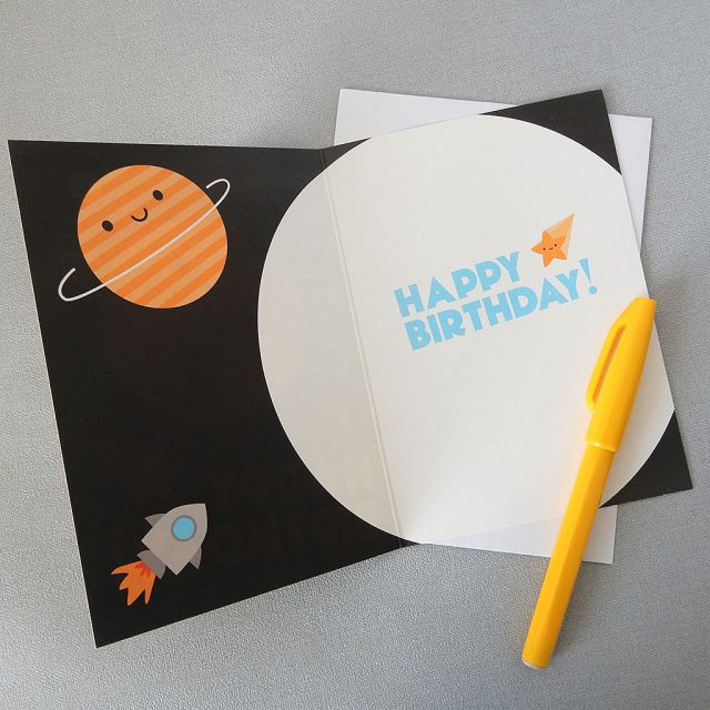 happy birthday in space card
