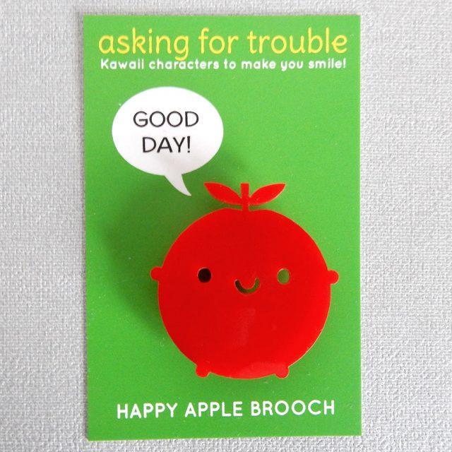 happy apple brooch