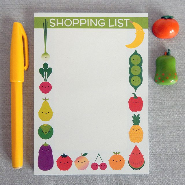 5 a day shopping list pad