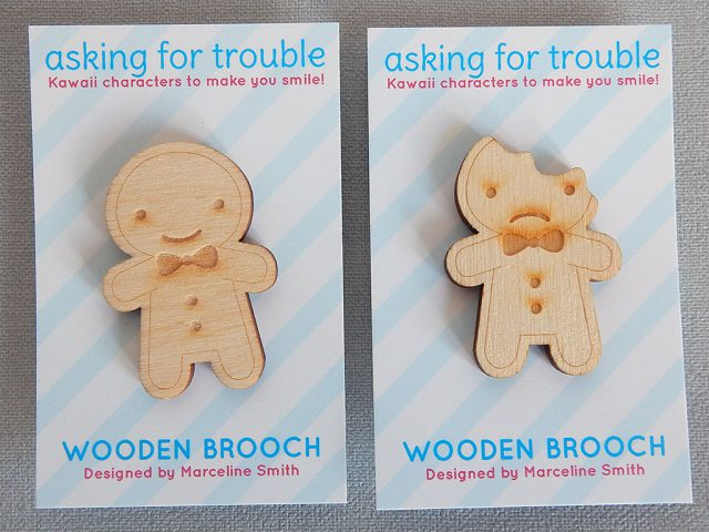 cookie cute wooden brooches