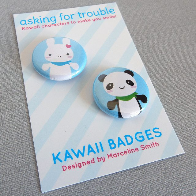 bunny and panda badge set - askingfortrouble