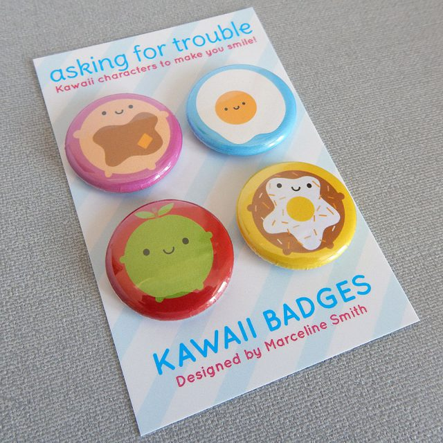 kawaii breakfast badge set - askingfortrouble