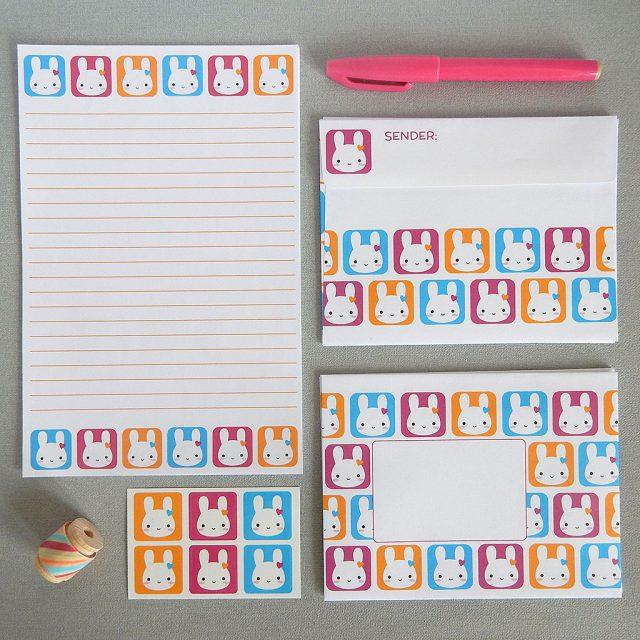 bunny squares letter set