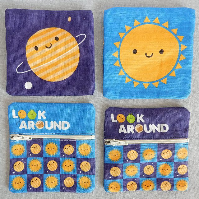 planet and sun fabric coin purses
