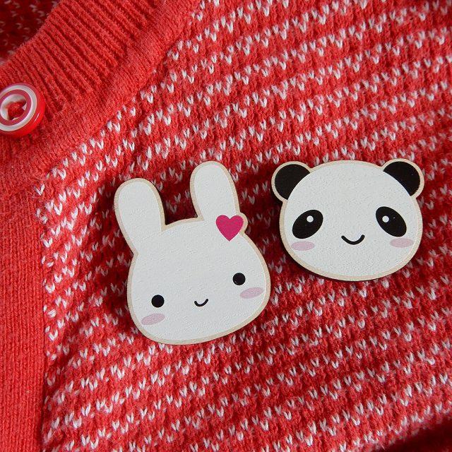 Bunny & Panda Printed Wooden Brooches
