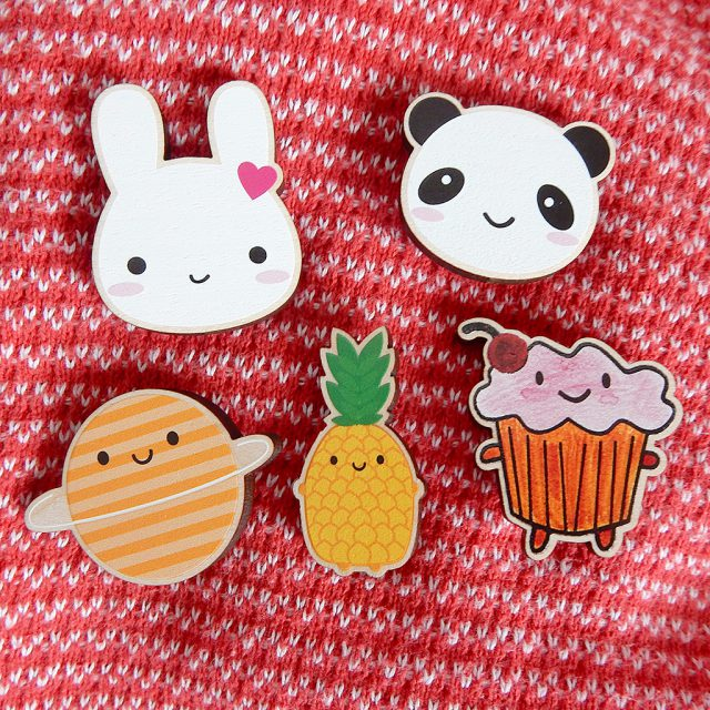 kawaii wooden brooches