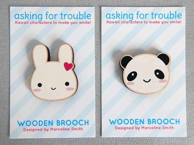 bunny and panda brooches