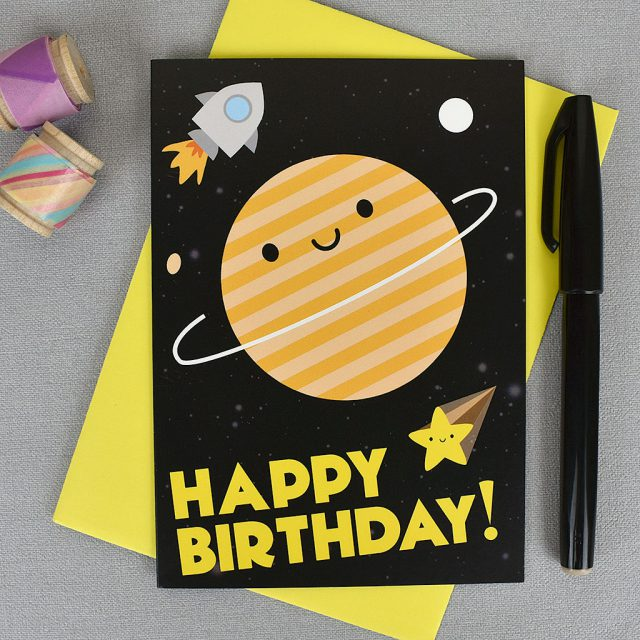 Happy Birthday in Space Cards