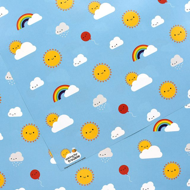 kawaii skies wrapping paper