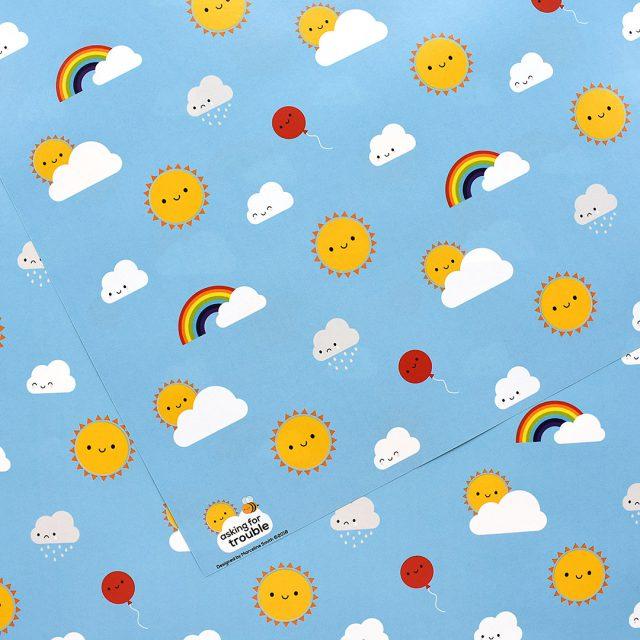 kawaii skies wrapping paper