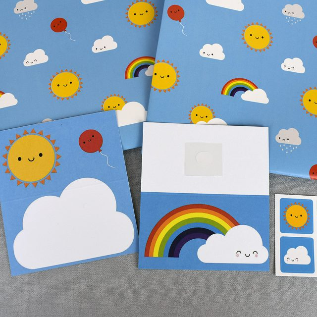 kawaii skies gift wrap set