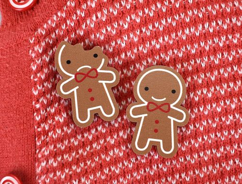 Gingerbread Man Printed Wooden Brooches