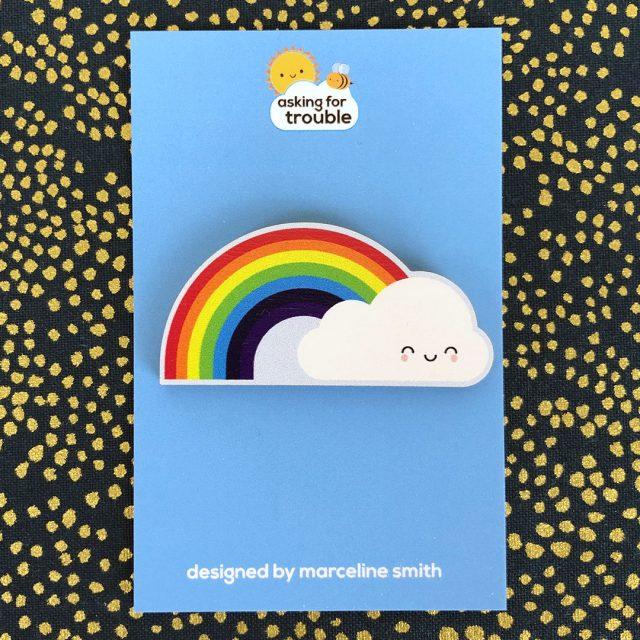 Rainbow & Cloud Wooden Pin/Brooch