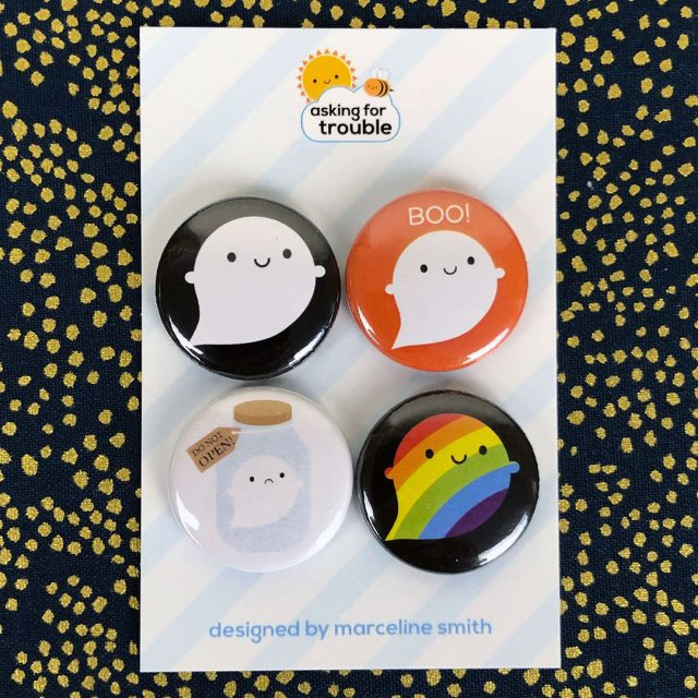 Halloween Ghosts kawaii badge set