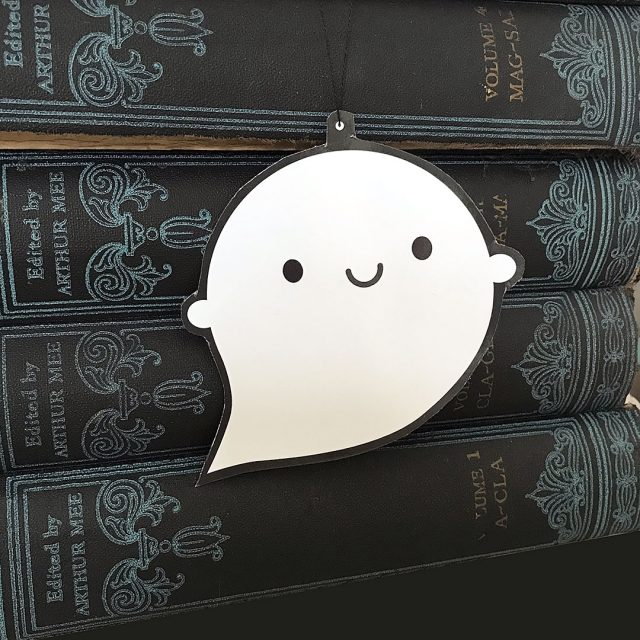 Halloween ghost ornament postcard