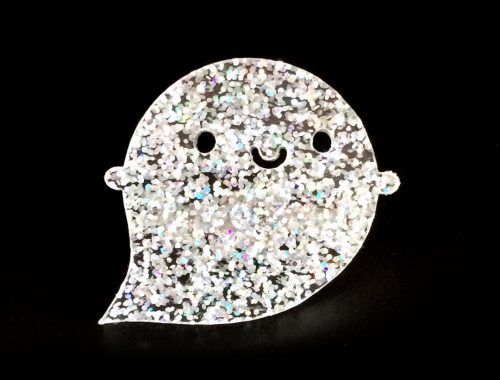 Glitter Ghost Acrylic Brooch - Limited Edition!