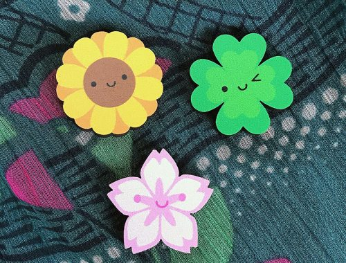 spring flowers kawaii pins