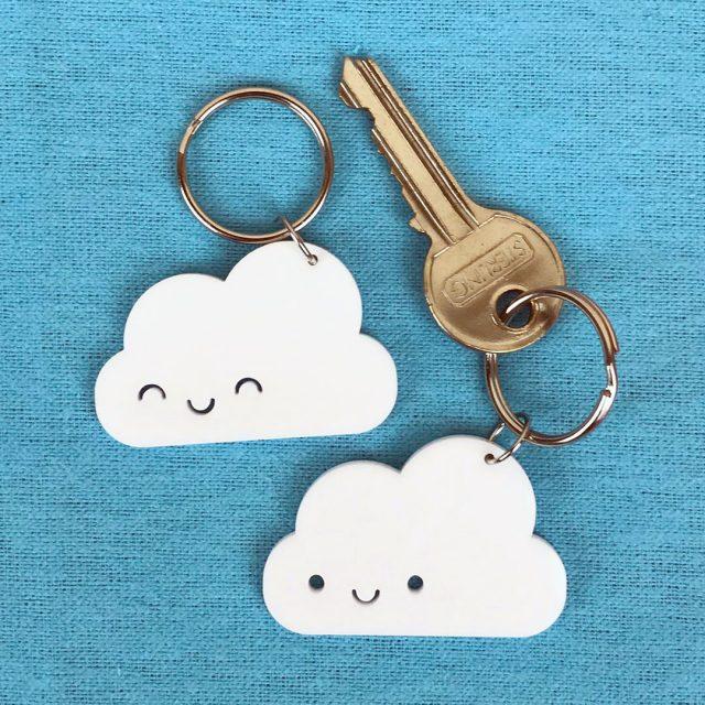happy cloud kawaii keyring
