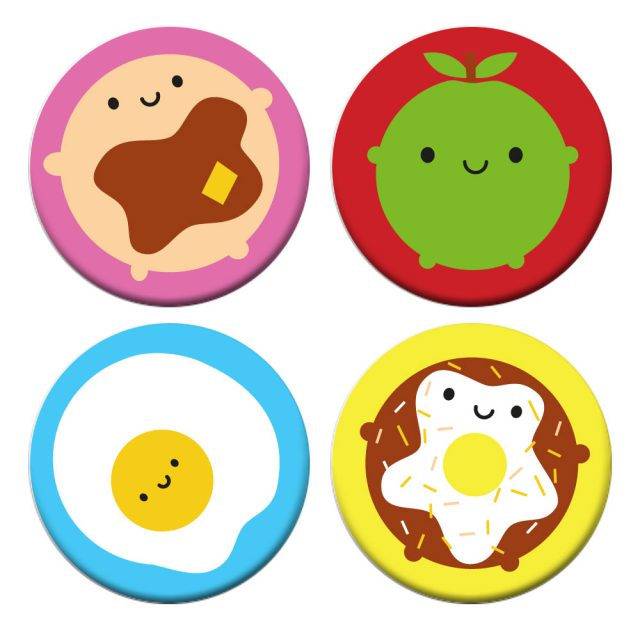 Kawaii Breakfast Badge Set