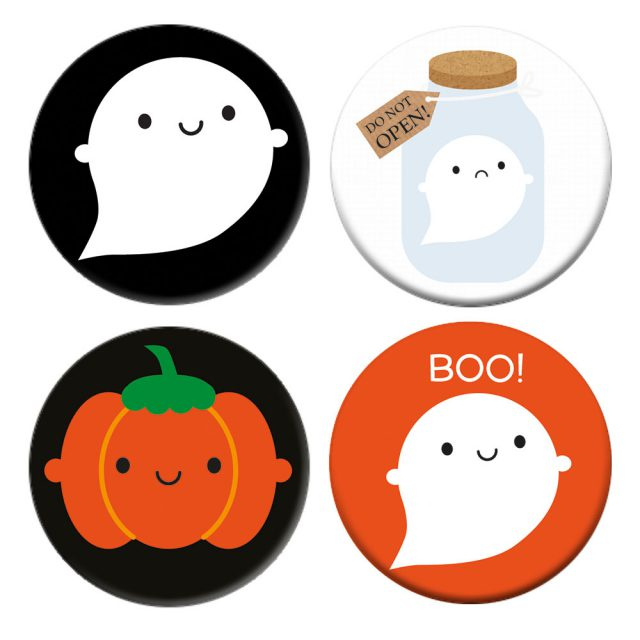 Kawaii Halloween Badge Set